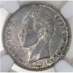 Venezuela (struck at the Paris Mint, France), 1/4 bolivar, 1894-A, NGC AU 55.