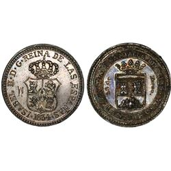 Lot of two Guanabacoa, Cuba, silver proclamation medals, Isabel II, 1834.
