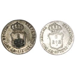 Lot of two Havana, Cuba, silver 1R-sized proclamation medals, Isabel II, 1834.