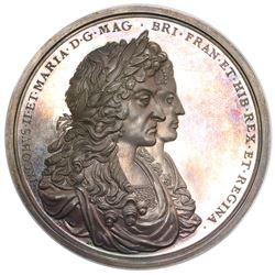 Great Britain, large silver medal, 1687, James II, recovery of treasure from the Concepcion by Sir W
