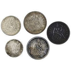 Lot of five U.S. silver coins: 1850 dime, 1854 with arrows dimes (two), 1853 half dime, and 1852 3 c