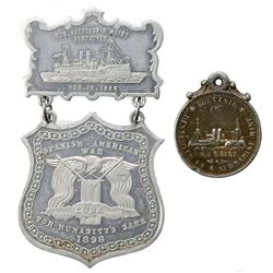Lot of two USA medals relating to the sinking of the USS Maine in 1898 in the harbor of Havana, Cuba