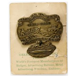 """USA, brass medal, ca. 1918, National Tuscania Survivors Assn., for the """"Baraboo 21"""" survivors of S.S"""