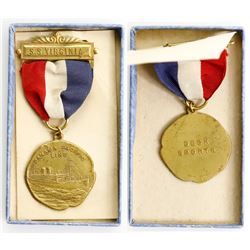 USA (Panama), bronze decoration with ribbon, Panama-Pacific Line, S.S. Virginia (launched 1928), ex-