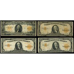 Lot of four USA, Gold Certificates, series of 1922, Speelman-White: $20, serial K45154688; $10, seri