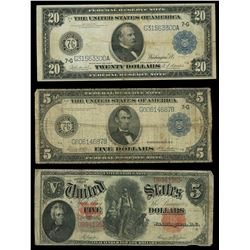 Lot of three USA notes: Federal Reserve Note, $20, series of 1914, serial G31563300A, Burke-Houston;