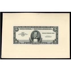 Trujillo City, Dominican Republic, 5 pesos oro obverse proof, no date (1947).