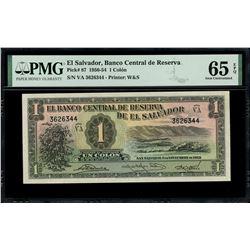 El Salvador, Banco Central de Reserva, 1 colon, 6-11-1952, series VA, serial 3626344, PMG Gem UNC 65