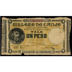 Puerto Rico, Ministerio de Ultramar, 1 peso, 17-8-1895, with partial counterfoil.