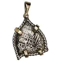 Potosi, Bolivia, cob 1 real, (1651-2)E, ex-Capitana (1654), mounted in twisted-wire silver bezel wit