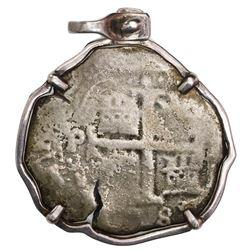 Potosi, Bolivia, cob 8 reales, (167)8E, ex-Consolacion (1681), mounted in sterling silver bezel.