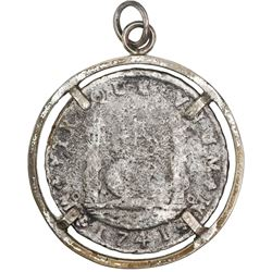 Mexico City, Mexico, pillar 8 reales, Philip V, 1741MF, ex-St. Geran (1744), mounted in silver plate