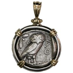"""Attica, Athens, AR tetradrachm """"owl,"""" 454-404 BC, mounted owl-side out in silver bezel with 14K gold"""