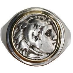 """Kingdom of Macedon, AR drachm, Alexander III (""""the Great,"""" 336-323 BC), mounted head-side out in sil"""