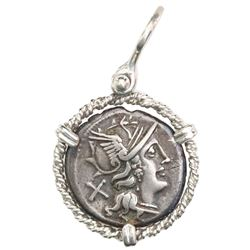 Roman Republic, AR denarius, Pinarius Natta, 155 BC, Rome mint, mounted head-side out in twisted-wir