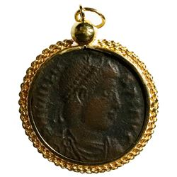 Roman Empire, AE 3, Valens, 364-378 AD, Thessalonica mint, mounted head-side out in non-custom 18K g