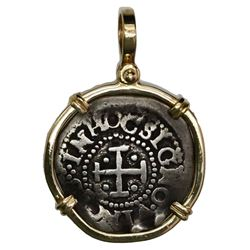 Portugal, 40 reis, Afonso VI, mounted cross-side out in 14K gold bezel with shackle bail.