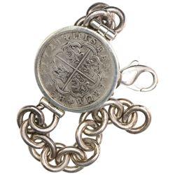 "Madrid, Spain, milled 2 reales ""pistareen,"" Philip V, 1721A, mounted in silver-link men's bracelet,"