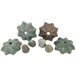 Lot of four bronze church-door ornaments (with knobs), one partially cleaned, ex-Consolacion (1681).