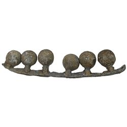 Rack of six lead musketball halves still attached to mold, ex-Joanna (1682).