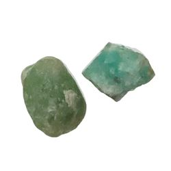 Lot of two natural emeralds of 4 and 2 carats each, ex-1715 Fleet.