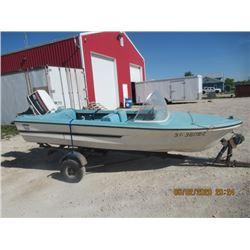 Anchor 13' Fibreglass Boat w Johnson 40 HP & Trailer W TOD