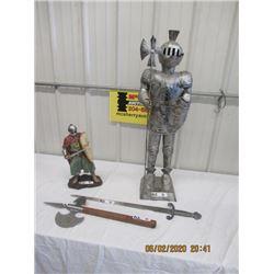 "5 Items - Metal Knight Statue 36"", Chalkware Knight 16"", 2) Decorative Swords, Chalkware Plaque"