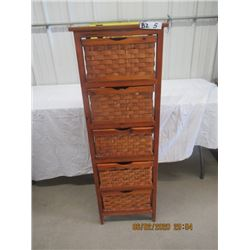 "Wood Wicker Organizer 5 Drawer H 48"" W 16""  D 14"""