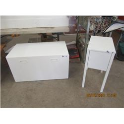 "2 items White 2 Pc Toy Box 20"" x 36"" x 19.5"" Nite Table w Drawer 20"" x 12"" x 20"""