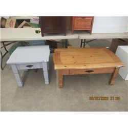 """2 Items - Cofffe Table 18"""" x 43"""" x 27"""" Painted End Painted End Table    21"""" x 24"""" x 24"""""""