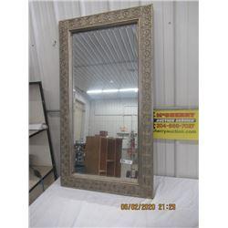 "Bevelled Mirror w Decorative Frame 51""H 29""W"