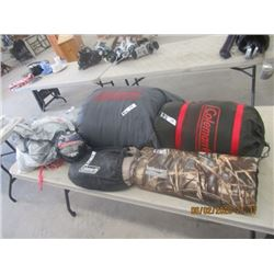 2 Coleman Sleeping Bags, 2 Sleeping Pads, Shelter Cover