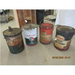 4 Items - 2) BA 5 Gal Oil Cans 2) Esso - Vintage