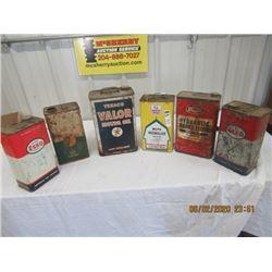 1 Gal Oil Cans- White Rose Weed Killer Texaco, BA , 2) ESSO, Rotunda - Vintage