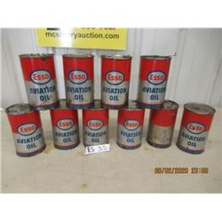 10 Items- Esso Aviation OIl - Full of Product- Vintage
