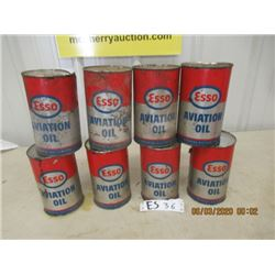 9 Items - Esso Aviation Oil Cans - Empty- Vintage