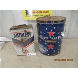 5 Gal North Star Oil Can , 2 Gal BA Can - Vintage