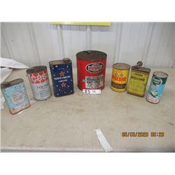 Oil Cans - North Star, Rotunda, 2) Rislone, Quaker State, Case, Tumbler- Vintage