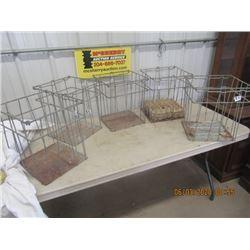 "5 Items - Metal Egg Crates- Basket Style 14"" x 13.5"" x 13.5""  - VIntage"