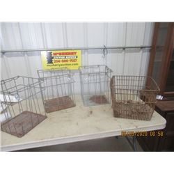 "4 Items - Metal Egg Crates- Basket Style 14"" x 13.5"" x 13.5"" - Vintage"