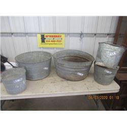 5 Galvanized Tubs & Pails- Vintage