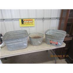 3 Galvanized Tubs- Vintage