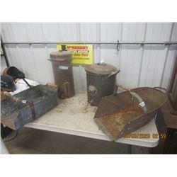 4 Items - Metal Cream Separator, Milk Strainer 2) Grain Scoops, - Vintage