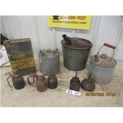 9 Items - 3 Gas Cans, 5 Oil Squirt Cans, Varcon Trans Oil Can  - Vintage