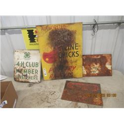 """4 Items - Metal Keyline Chich Sign 24"""" x 17.5"""" Metal 4 H Clubs Sign 14"""" x 12"""", 2-Danger SIgns 10"""" x"""