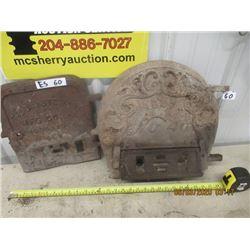 2 Cast Wood Heater Doors - Vintage
