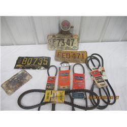 Vintage License Plates, and V Belts