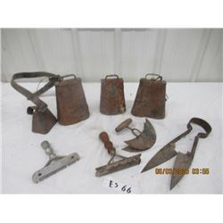 8 Items - 4 Cow Bells, Sheep Shears, Hide Scrapers, Grooming Items - Vintage