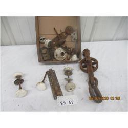 Porc Door Knobs, Dead Bolt, Trolley & Hook - Vintage