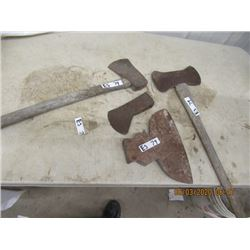 4 Items , Broad Axe Head , Forged Axe Head Axe, And Double Style Axe - Vintage